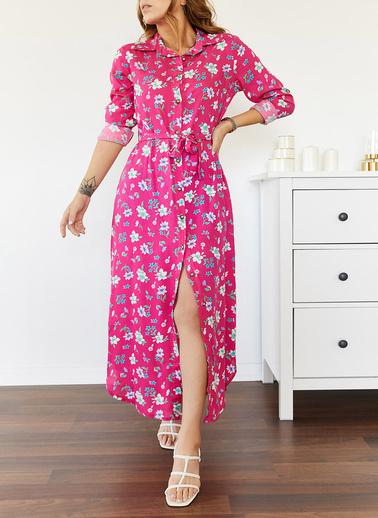 XHAN Desenli Gömlek Elbise 0Yxk6-43501-20 Pembe